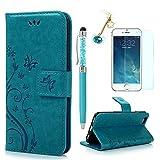 iPhone 6s Handyhülle KASOS Case für iPhone 6 Flip Case Ledertasche Schutzhülle Leder Huelle Stand Halter Magnetverschluss Schmetterling Blumen ,Blau + Schutzfolie + Staubschutz + Eingabestift