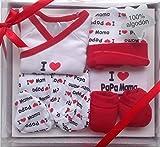 Set de regalo para bebé,5 piezas 100% Algodón,color rojo,(HC Enterprise)