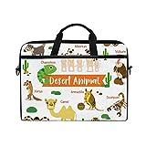 Ahomy 14-15 Zoll Laptop Tasche Desert Animals Camel Cobra Tropical Kactus Canvas Stoff Laptop Tasche Bussiness Handtasche mit Schultergurt für Damen und Herren