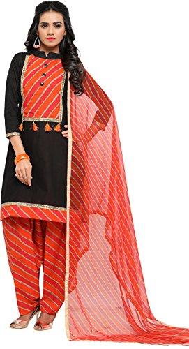 EthnicJunction Women\'s Cotton Patiala Style Unstitched Dress Material (EJ1180-88009_Black)