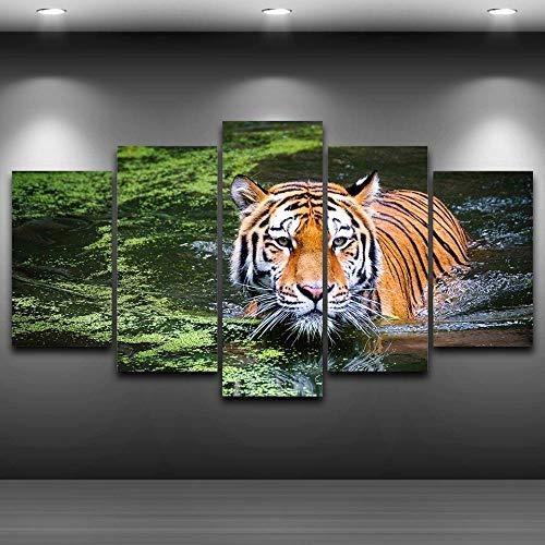 sanjiiNG Modulare Vintage Bilder Wohnkultur 5 Panel Tier Tiger Gemälde Auf Leinwand Wandkunst Für Wohnzimmer HD Gedruckt30cmX40cmX2 30cmX60cmX2 30cmX80cmX1 -