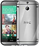 HTC One-2 M8 Phone Bumper Case Cover Black Silicone Edges with Hard Clear Back+Free 2 Screen Protectors