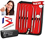 BeautyTrack - 8PCS Professional Dental kit - in acciaio INOX specchio dentale, dentale Scaler, pinzette dentale, dentale tartaro e placca di rimozione (doppio), raschietto per dentale,Dental Curette