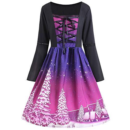 Beikoard Damen Weihnachts Print Kleider Kreuzband Swing Kleid Langarm Abendkleider Business Kleider...