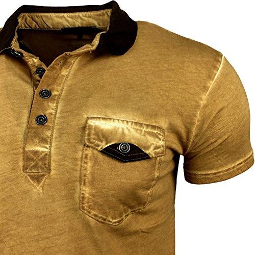 Herren Poloshirt Kontast Shirt Anthrazit Weiß Braun Khaki Kurzarm Sommer A15026 Braun