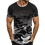 T-Shirts,Honestyi 2018 Modell Mode Persönlichkeit Tarnung Herren Beiläufig Schlank Kurzarm Hemd Top Bluse Sweatshirt Slim Fit T-Shirt Hoodie Kurzarmshirt Oversize M-XXXL (XXXL, Grau)