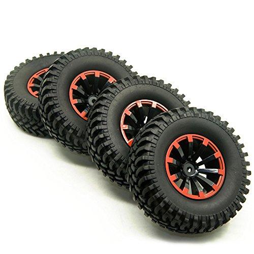 4 Stück 1/10 RC 1,9 Zoll Kunststoff Radfelge Felgenringe mit 100mm Gummireifen für 1:10 RC Crawler Truck AXIAL SCX10 CC01