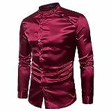 GreatestPAK T-Shirt Männer Shirt Slim Fit Langarm Casual-Taste Shirts Formale Top Bluse Männer Schräge Tür Langarm-Shirt
