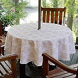 Mingfuxin Outdoor-Tischdecke, auslaufsicher, wasserfest, mit Reißverschluss, Regenschirmloch für Terrasse, Garten, Tischdekoration, 152,4 cm, rund, mit Reißverschluss