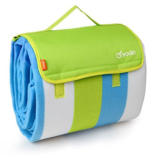 Yodo Extra Large Picknickdecke Teppich Wasserdicht 200 x 200 cm für Festival Strand Reise Camping Outdoor,Grün Streifen