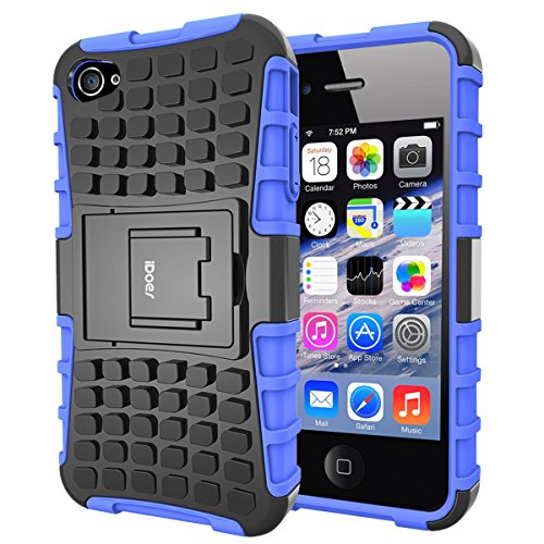 Price comparison product image iPhone 4S Case, Impact Tough Rugged Heavy Duty ShockProof Hybrid Kickstand Bumper Protective Bag Cover Case With Stand For Apple iPhone 4 4S - Blue