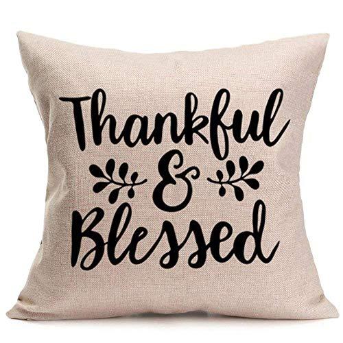 (Qiusa Weiche Kissenbezug, Happy Fall Bettwäsche Abdeckung Thanksgiving Day Kissenbezug Protektoren Weiche Leinen Kissenbezug Home Decor)