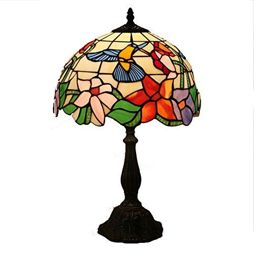 XIAYF Tiffany Stil Schreibtischlampe, 12-Zoll-Glasmalerei Dekorative Tischlampe Schlafzimmer Wohnzimmer Kreative Persönlichkeit Desktop-Beleuchtung E27 (Keine Lichtquelle) (Glasmalerei Tiffany-stil-lampe)