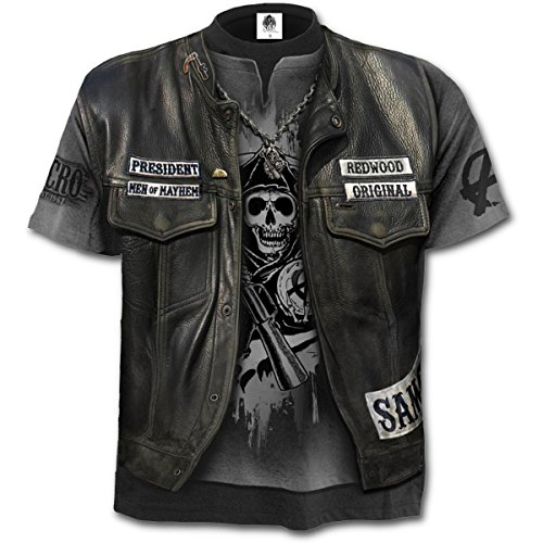 Sons Of Anarchy - Jax Wrap, Gothic Metall Fantasy alle über Druck Männer unisex T-Shirt grau - L - Spirale (Anarchy-outfits Of Sons)