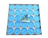 CAOLATOR 50 Stück Teelicht Set Rund Form Romantische Hochzeit Herz Kerzen für Vorschlag, Hochzeit, Party (Blau)