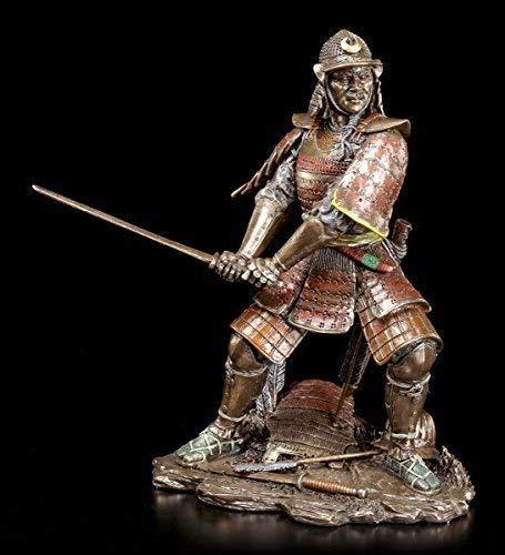 Samurai Krieger Figur mit Schwert   Veronese Bronze-Optik Deko