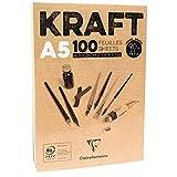 Clairefontaine Bloc de Papel Kraft, Color marrón, tamaño A5, 90g, Color Blanco