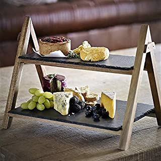 Slate Serving Board Premium Bamboo Rustic Slate Boards 2 Tier Cake Stand Foldable Rack Food/Tapas/Sushi/Appetiser Dishes Serving Tray Plates Platters