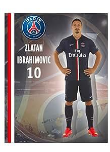 Grande Affiche plastifiée PSG - Zlatan Ibrahimovic - Collection officielle Paris Saint Germain - Football - Taille 40 x 50 cm