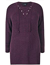 b7435ba2 Yours Clothing Women's Plus Size Knitted Jumper with Eyelet Lattice Front