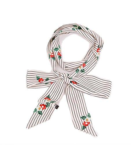Damen Schmal Krawattenschal Skinny Satin Tie Scarf 200cm*4,5cm (Weiße Tie Skinny)