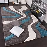PHC Designer Teppich mit Konturenschnitt Modern Grau Türkis Weiss, Grösse:80x150 cm