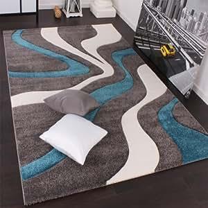 Designer Teppich mit Konturenschnitt Modern Grau Türkis Weiss, Grösse:160x230 cm