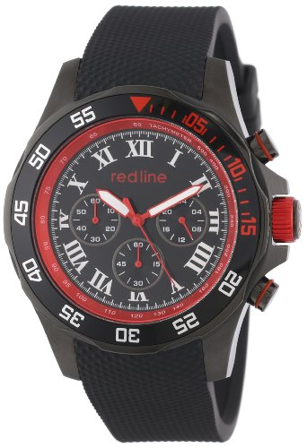 red line Men's RL-60057 Chronograph Black Dial Black Textured Silicone Watch