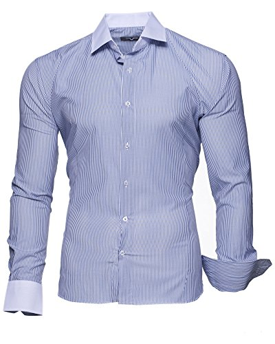 KAYHAN Homme Chemise Slim Fit Repassage facile, Manches Longues Modell - Krawattenhemd Darkblue