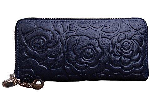 H&W Donna Pelle Vera Frizione Portafogli Con Fiore Modello Nero Blu
