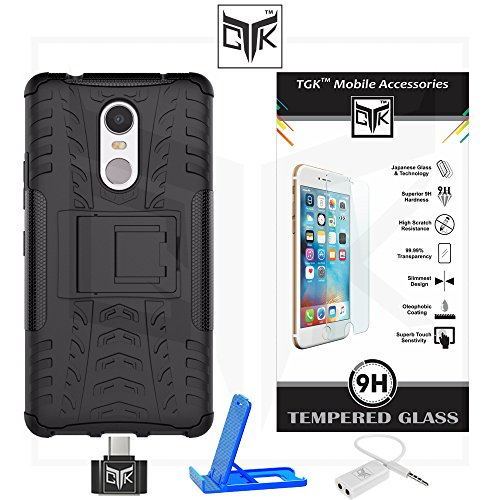 Lenovo K6 NOTE Super Value Combo of Tough Hybid Dual Layer ShockProof Armor with Kick Stand Back Case Cover + Premium HD Tempered Glass Screen Protector With Rounded Edges + OTG Adapter + Audio Splitter + Multi-Angle Adjustable Sleek Mobile Stand