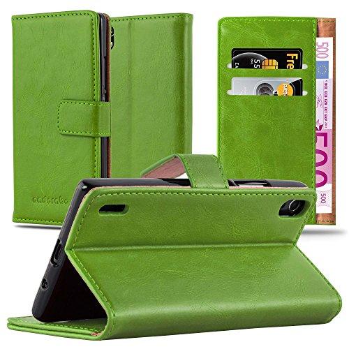 Preisvergleich Produktbild Cadorabo Hülle für Huawei P7 - Hülle in Gras GRÜN – Handyhülle im Luxury Design mit Kartenfach und Standfunktion - Case Cover Schutzhülle Etui Tasche Book