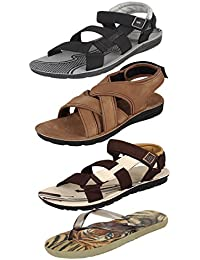 Earton Men Combo Pack of 4(Sandals & Floaters & Slippers)