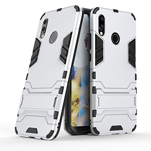 Huawei P20 Lite case,Stylish cover GOGME [Tough Armor Series]Rugged TPU/PC Hybrid Armor, Anti-Scratch PC back panel + Shockproof TPU bumper+Foldable holder,Ultra-thin phone shell for Huawei P20 Lite. silver
