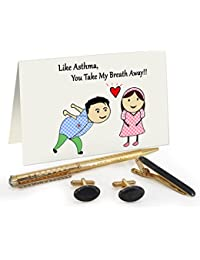 TiedRibbons® Valentine Day Gifts For Bf Golden Cufflinks,Tiepin And Pen Combo Set With Valentine's Special Greeting...