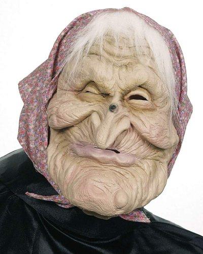 Überziehmaske Hexe mit Kopftuch und Haaren