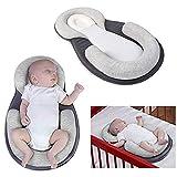 Cuscino per neonato, per prevenire la testa piatta, materasso a nido d'ape (grigio)