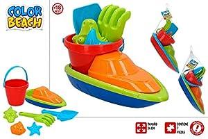 ColorBaby Conjunto Playa Barco 34 CM Y Palas con 3 MOLDES Mod SDOS 24938