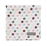 Krasilnikoff Serviette Stoffserviette weiß, Sterne bunt 40 x 40 cm