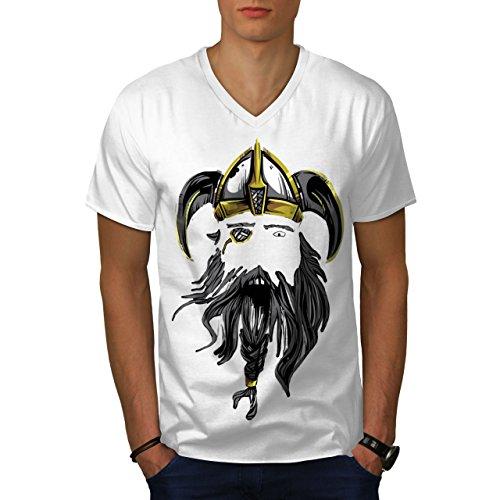 wellcoda Wikinger Krieger AXT Männer S V-Ausschnitt T-Shirt