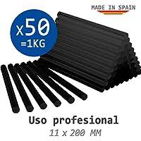 BOLSA 1 KG de COLA TERMOFUSIBLE NEGRA - 50 BARRAS de silicona para pistola caliente 11 x 200 MM - Para coche PROFESIONAL