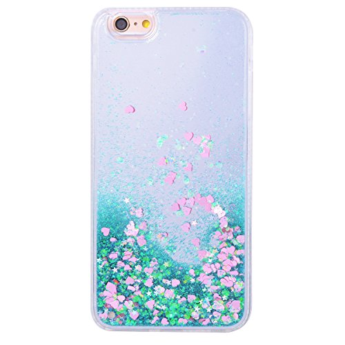 WE LOVE CASE Coque iPhone 6, Coque de Protection Liquide Fluide Sables Brillante en Hard PC Dur Coque iPhone 6S Paillette Motif Glitter Anti Choc Bumper, Antichoc Rigide Resistante Coque Apple iPhone  Vert