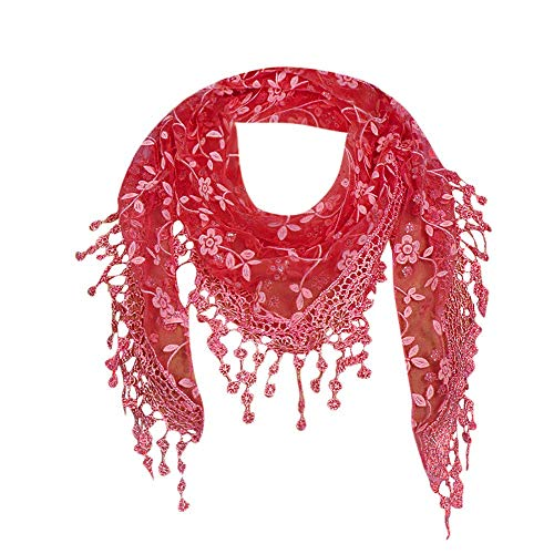 Bobopai Women Lace Sheer Floral Scarf Shawl Wrap Tassel New Ladies Women''s Colony Flamboyance of Solid Colour Travelling Touring Fringe Square Cotton Linen Stole Muffler Beach(Watermelon Red) Baby Girls Pink Check