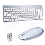 Sanhoton 2.4GHz Wireless Keyboard and Mouse Combo Ultra Thin Portable with Whisper-Quiet Keys
