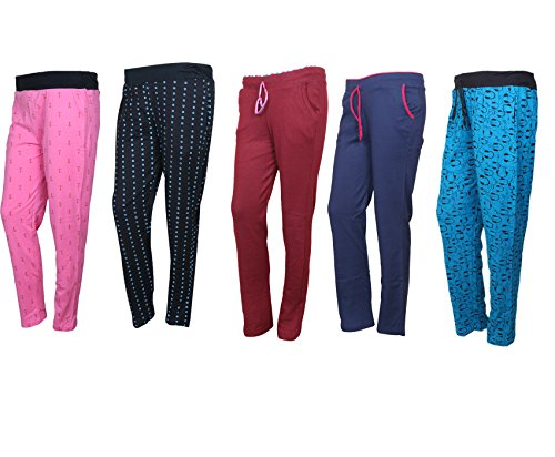 IndiStar Cotton Lower/Track Pants/Pyjama for Women(Pack of 5)_Pink/Black/Maroon/Navy Blue/Firozi_Size-XX-Large_73200-1213142124-IW-P5-XXL