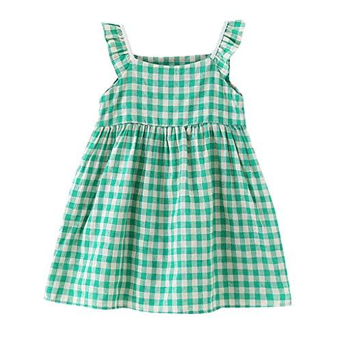i-uend Mädchen Baby Sommer Mode Kleid niedlichen kleinen frischen Fliegen Ärmel Plaid Kleid lose bequemen Kleid lässig ()
