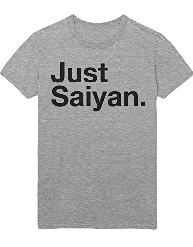 (T-Shirt Just Saiyan Son Goku Dragon Z Growing Fast GT Super Trunks Gohan Saiyajin C980012 L Grau)