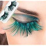 Handgemachte - Wimpern, Künstliche Wimpern, grüne super weich Feder, falschen Wimpern, Sonder Maskerade Bühne