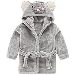 IEUUMLER Bébé Garçon Peignoir Sortie De Bain à Capuche Pour Enfants Serviette de Bain Vêtements de Nuit Pyjamas 0-6 Ans IE002 (Height:70-80CM(100))
