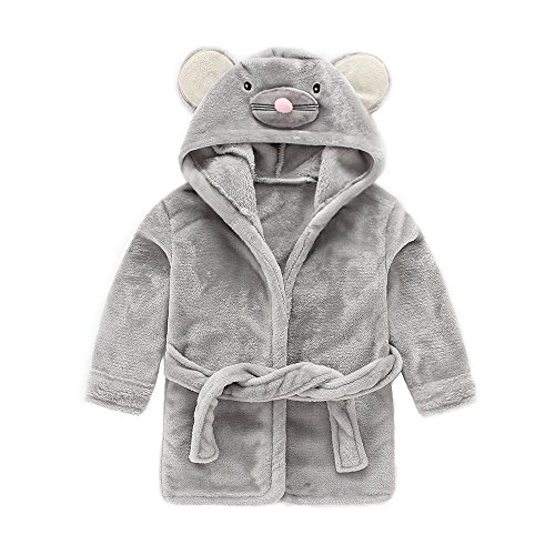 IEUUMLER Children's Hooded Bath Towel Flannel Fleece Pyjamas for Baby Girl Boy Toddler Baby Dressing Gown 0-6 Jahre IE002 (Height:60-70CM(90))